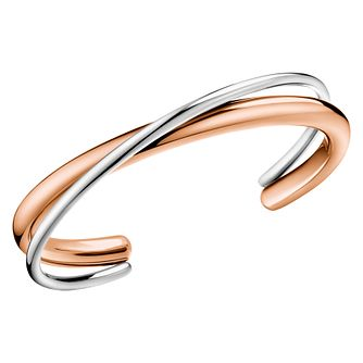 Calvin Klein Silver & Rose Gold Double Strand Open Bangle - Product number 4029372