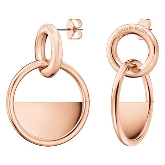 Calvin Klein Locked Rose Gold Tone Drop Earrings - Product number 4029704