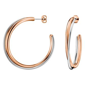 Calvin Klein Silver & Rose Gold Double Hoop Earrings - Product number 4029712