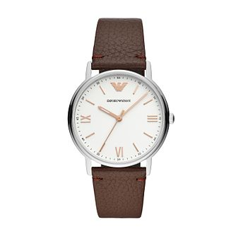 Emporio Armani Kappa Men's Brown Leather Strap Watch - Product number 4029879