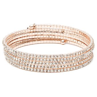 Anne Klein Rose Gold Tone Crystal Row Flexible Bracelet - Product number 4030079