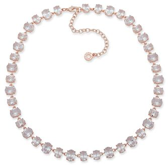 "Anne Klein Rose Gold Plated Crystal 16"" Collar Necklace - Product number 4030478"