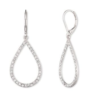 Anne Klein Silver Tone Crystal Teardrop Earrings - Product number 4031156