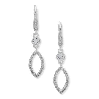 Anne Klein Silver Plated Crystal Drop Earrings - Product number 4031199