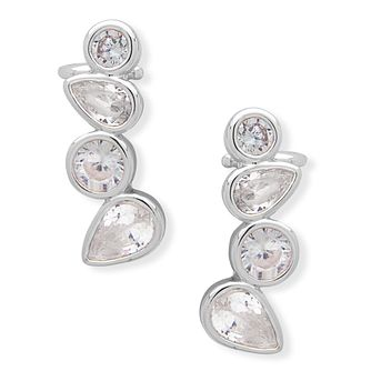 Anne Klein Silver Plated Crystal Climber Earrings - Product number 4031202