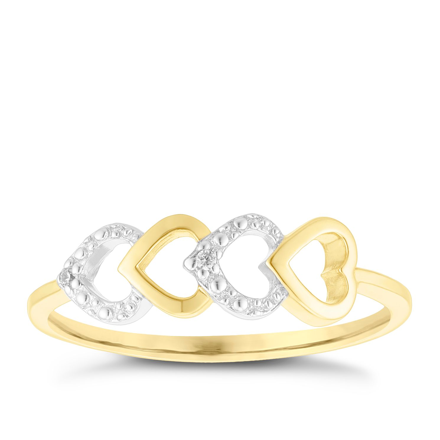 Silver & Gold Plated Cubic Zirconia Open Heart Stacking Ring - Product number 4038355