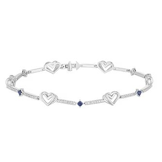 Vera Wang Silver 0.29ct Diamond & Sapphire Heart Bracelet - Product number 4040287