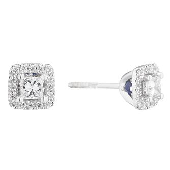 Vera Wang 18ct White Gold 0.45ct Diamond Halo Stud Earrings - Product number 4040325