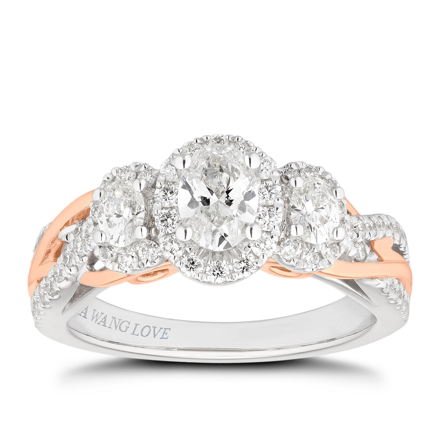 Vera Wang 18ct White & Rose Gold 0.95ct 3 Diamond Halo Ring - Product number 4040589