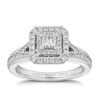 Vera Wang 18ct White Gold 0.58ct Diamond Princess Cut Ring - Product number 4040848