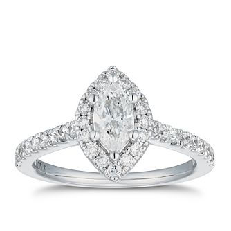 Vera Wang 18ct White Gold 0.95ct Diamond Marquise Halo Ring - Product number 4040996