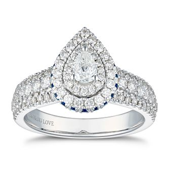 Vera Wang 18ct White Gold 0.95ct Diamond Pear Cut Halo Ring - Product number 4041127
