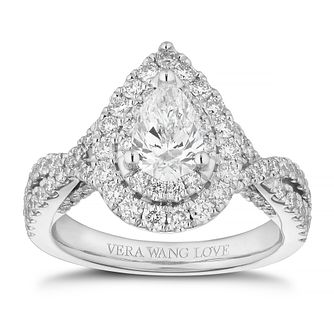 Vera Wang 18ct White Gold 1.58ct Diamond Pear Halo Ring - Product number 4041305