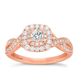 Neil Lane 14ct Rose Gold 0.75ct Diamond Double Halo Ring - Product number 4047230