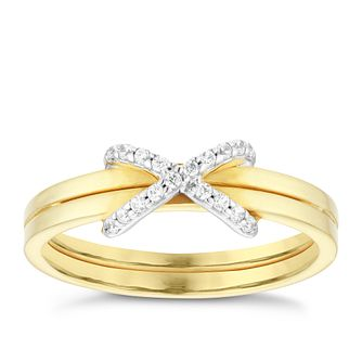 9ct Yellow Gold Cubic Zirconia Kiss Ring - Product number 4054326