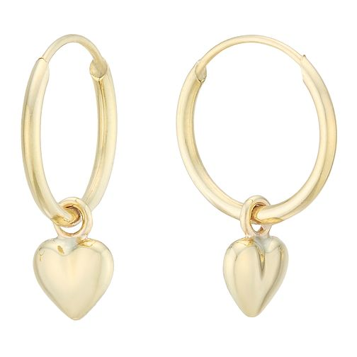 eb721315ef648 9ct Yellow Gold Heart Charm Hoop Earrings
