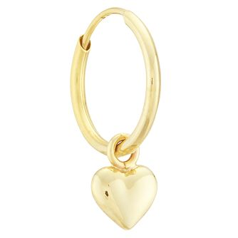 9ct Yellow Gold Heart Charm Single Hoop Earring - Product number 4054466