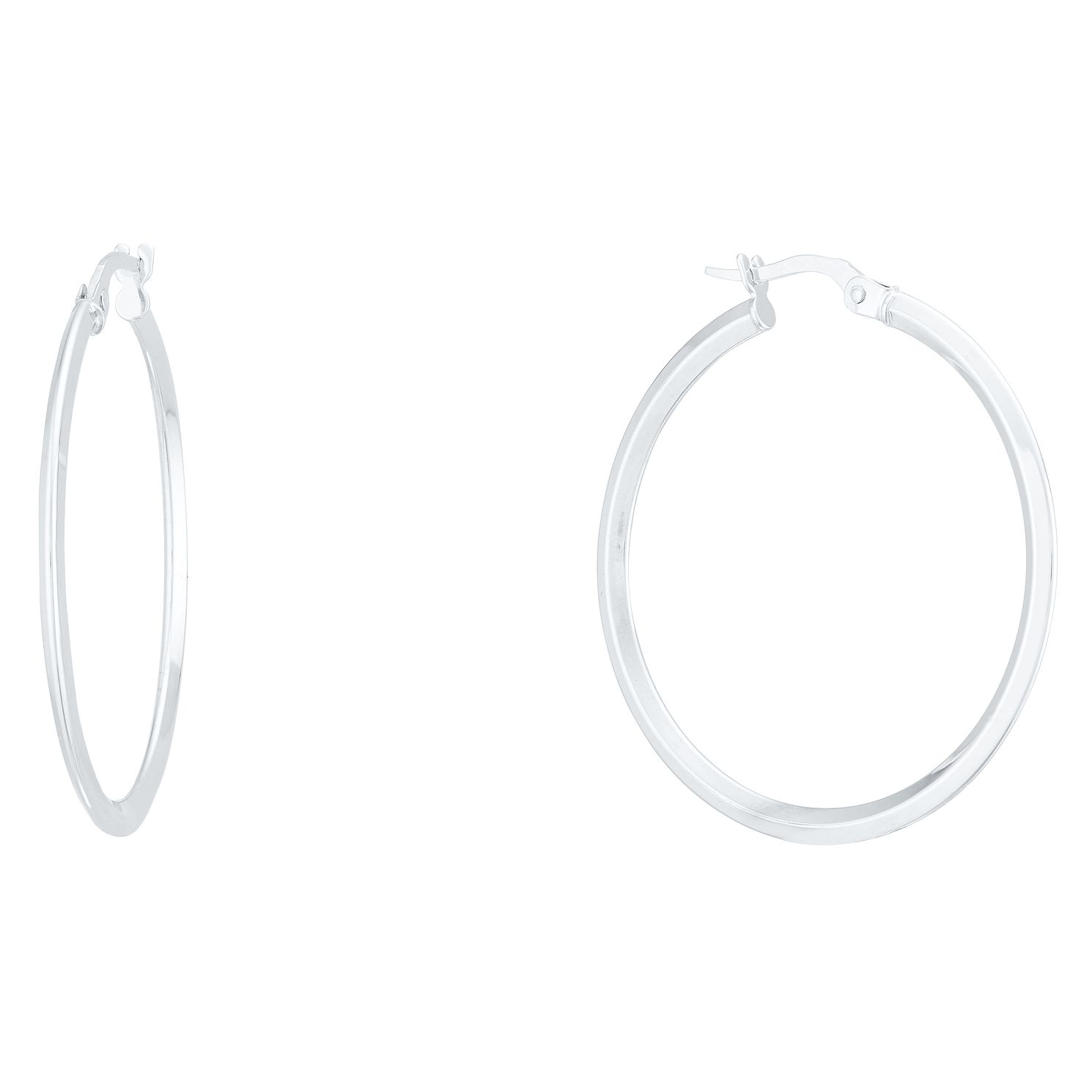 9ct White Gold 28mm Hoop Earrings - Product number 4056310