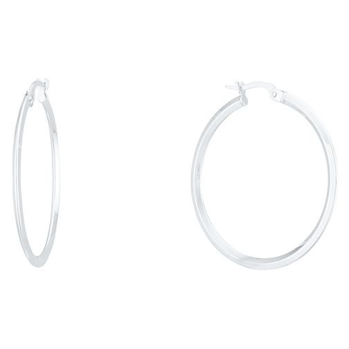 9ct White Gold Plain Hoop Earrings - Product number 4056310