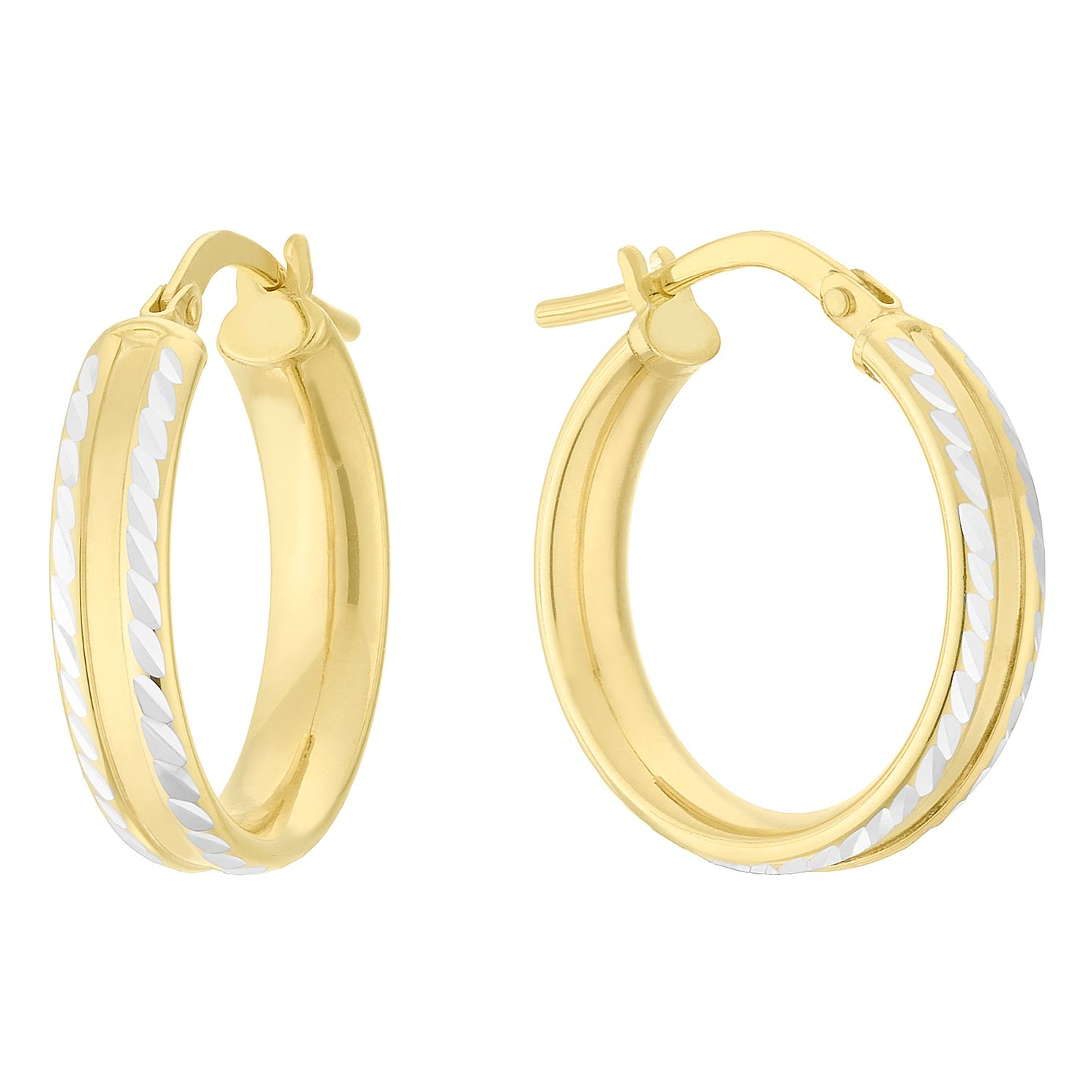 Together Silver & 9ct Bonded Gold Dia/Cut 15mm Hoop Earrings - Product number 4056329