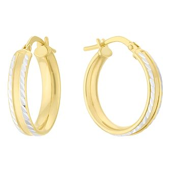 Silver & 9ct Yellow Gold Bonded Two Tone Creole Earrings - Product number 4056329