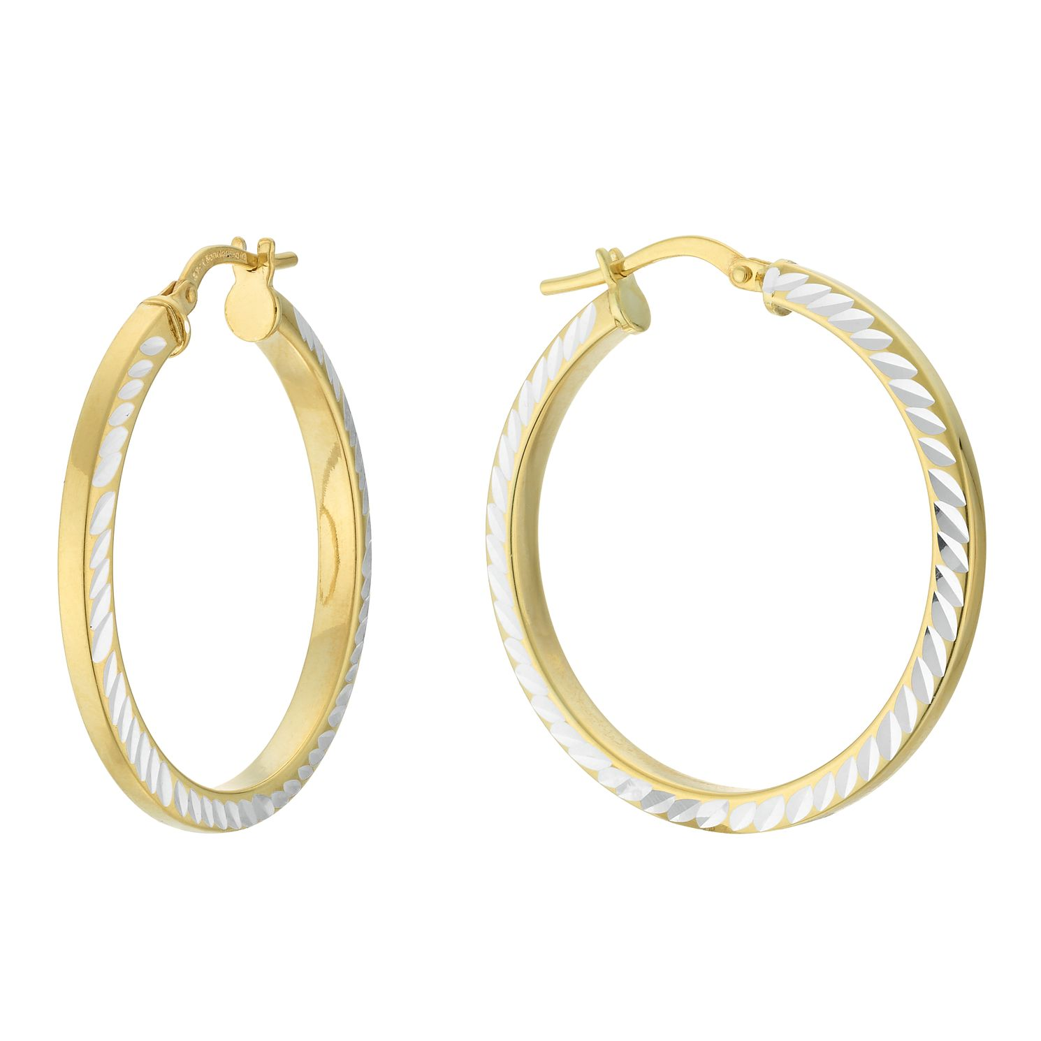 Together Silver & 9ct Bonded Gold Dia/Cut 25mm Hoop Earrings - Product number 4056345