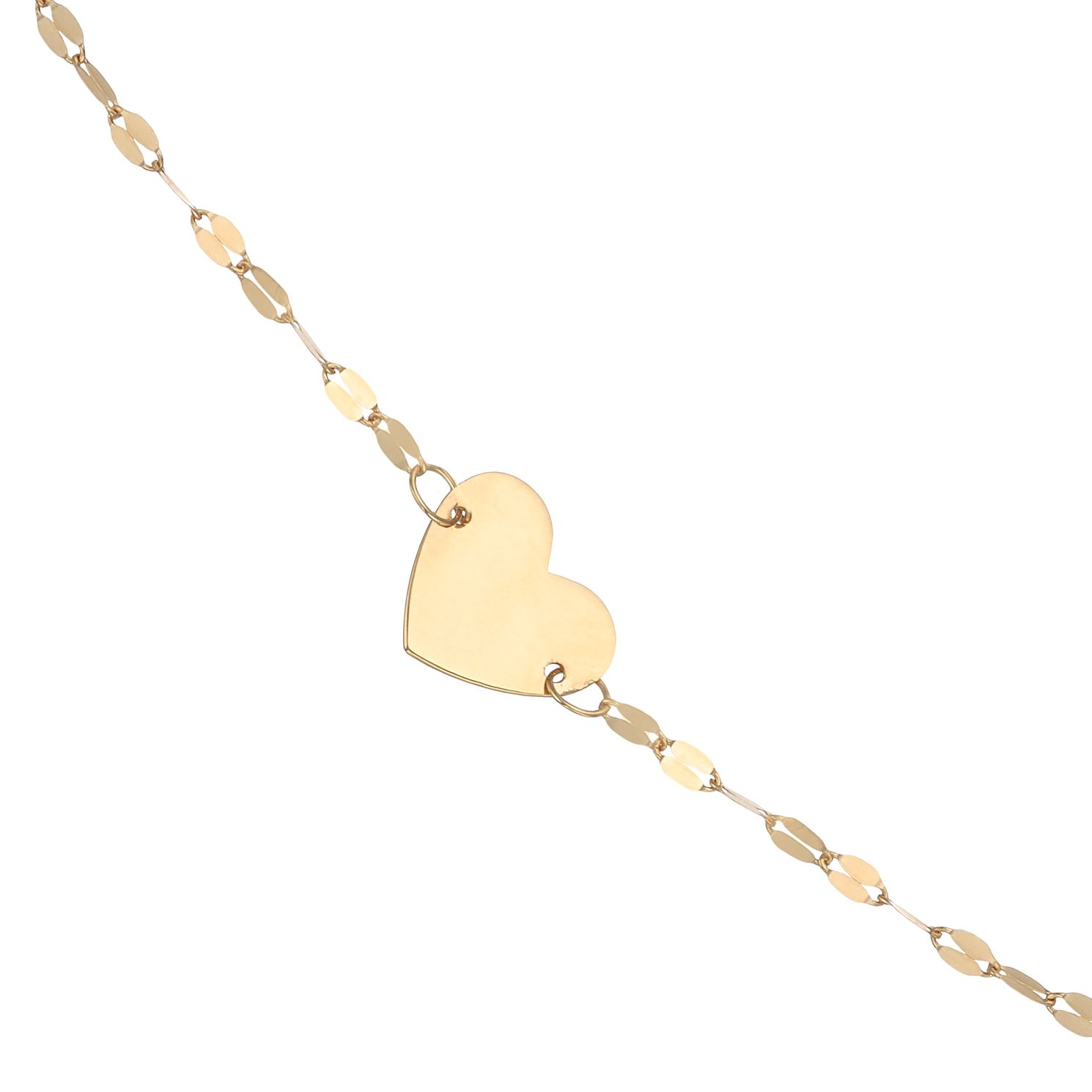 9ct Yellow Gold Disc Chain Heart Choker - Product number 4057309