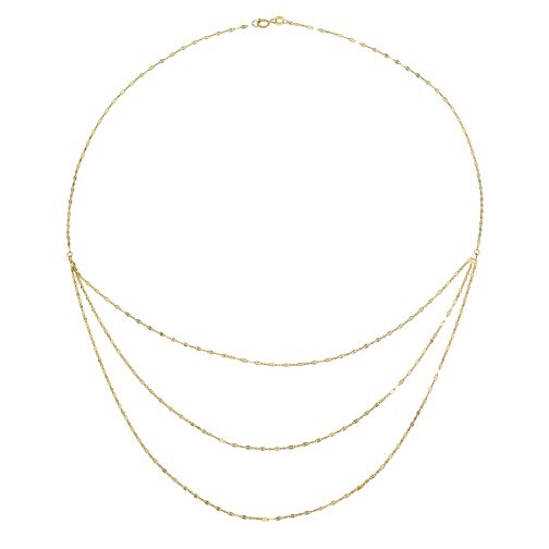9ct Yellow Gold Triple Layer Disc Chain Necklace - Product number 4057392