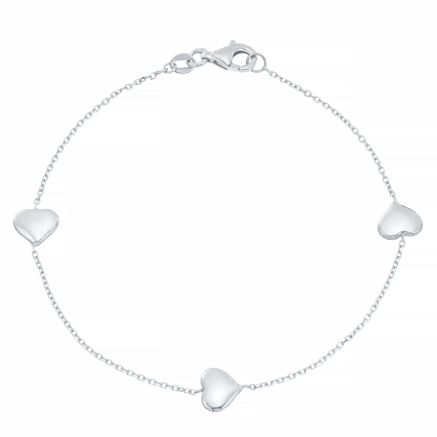 9ct White Gold Heart Station Bracelet - Product number 4058194