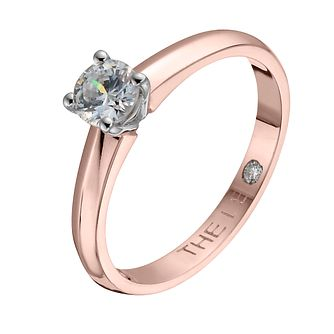 Leo Diamond 18ct Rose Gold 2/5ct I-I1 Solitaire Ring - Product number 4058682