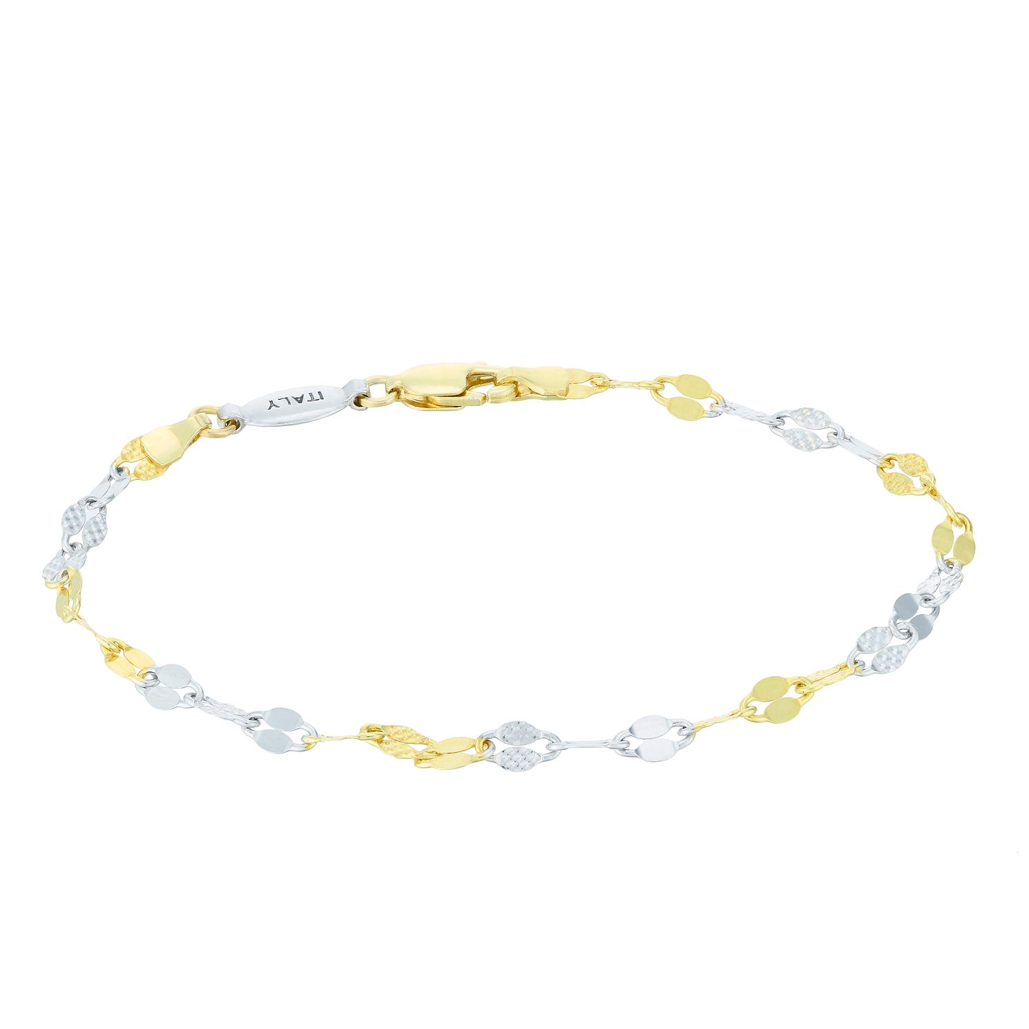 Silver & 9ct Yellow Gold Bonded Two Colour Twisted Bracelet - Product number 4059182