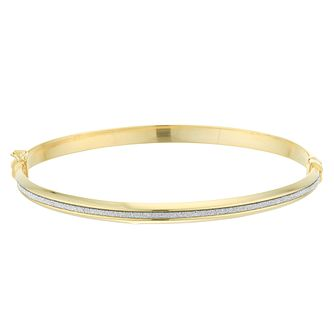 9ct Yellow Gold Glitter Stripe Hinged Bangle - Product number 4059239