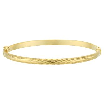 9ct Yellow Gold Textured Hinged Bangle - Product number 4059247