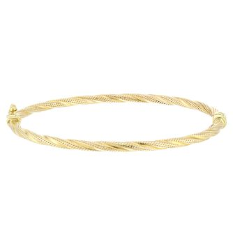 9ct Yellow Gold Twisted Stripe Design Hinged Bangle - Product number 4059298