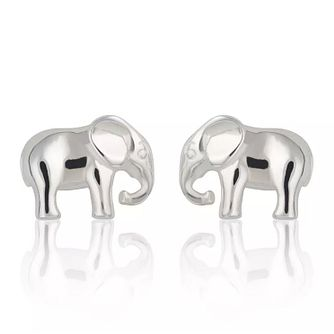 Lily Charmed Sterling Silver Elephant Stud Earrings - Product number 4059972