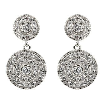 Mikey Silver Tone Cubic Zirconia Double Round Drop Earrings - Product number 4060385
