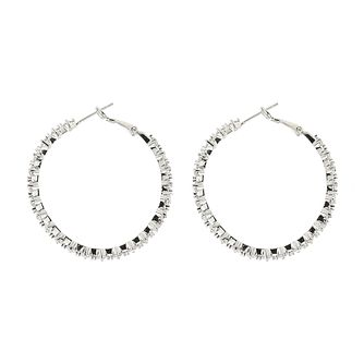 Mikey Silver Tone Cubic Zirconia Full Hoop Earrings - Product number 4060407