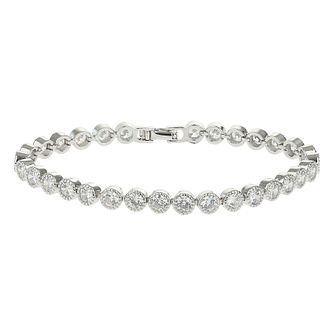 Mikey Silver Tone Cubic Zirconia Link Edged Tennis Bracelet - Product number 4060563