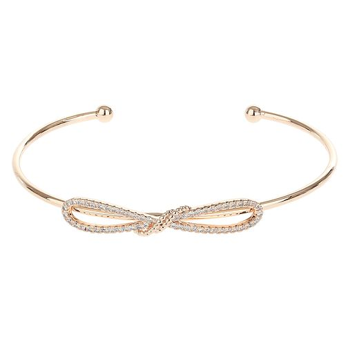 Mikey Rose Gold Plated Cubic Zirconia Bow Cuff Bracelet - Product number 4061004
