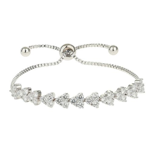 Mikey Silver Tone Flower Cubic Zirconia Tie Up Bracelet - Product number 4061934