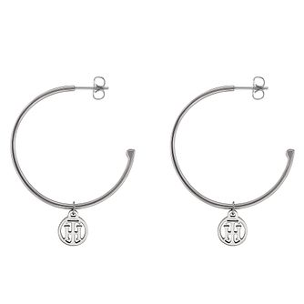 Tommy Hilfiger Silver Tone Charm 3/4 Hoop Earrings - Product number 4063120