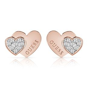 Guess Rose Gold Plated Rhodium Double Heart Stud Earrings - Product number 4066669