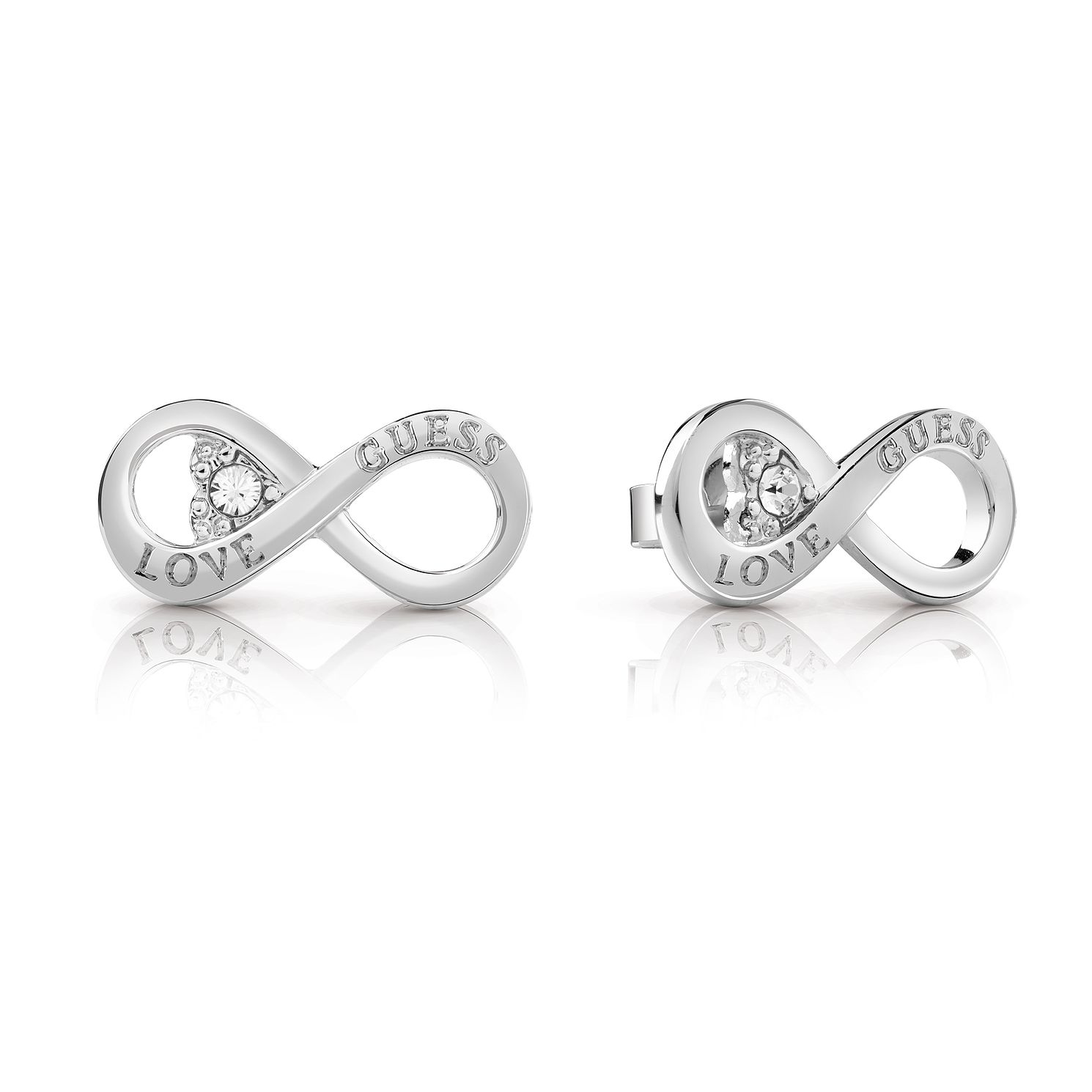 Guess Silver Plated Rhodium Infinity Heart Stud Earrings - Product number 4066766