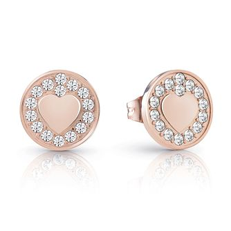 Guess Rose Gold Plated Rhodium Heart Coin Stud Earrings - Product number 4066901