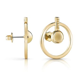 Guess Gold Plated Rhodium Circle & Bar Stud Earrings - Product number 4067118