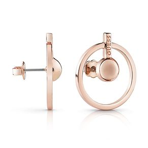 Guess Rose Gold Plated Rhodium Circle & Bar Stud Earrings - Product number 4067282