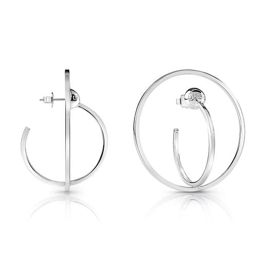 Guess Silver Plated Rhodium Double Circle Hoop Earrings - Product number 4067290
