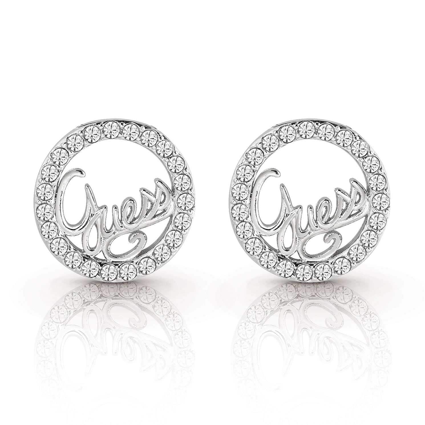 Guess Silver Plated Rhodium Script Circle Stud Earrings - Product number 4067371