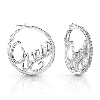 Guess Silver Plated Rhodium Script Circle Hoop Earrings - Product number 4067398