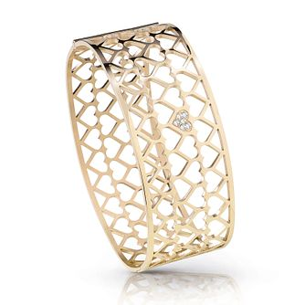Guess Gold Plated Rhodium Heart Pattern Bangle - Product number 4072782